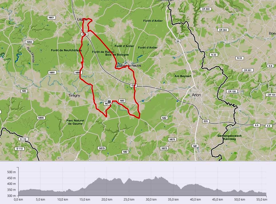 Cyclo 56 km carte